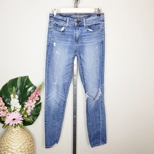American Eagle Ripped Knee Super Skinny Jeans